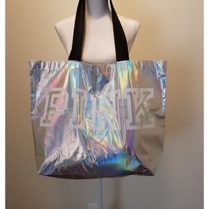 Pink VS Iridescent Silver Extra Large Tote Bag NWT